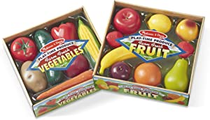 Melissa & Doug Play-Time Produce Set (Fruit, 9 Pieces, and Vegetables, 7 Pieces)
