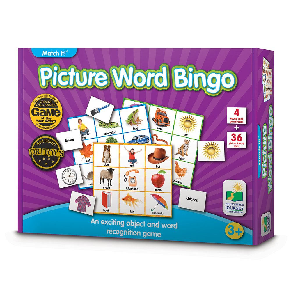 The Learning Journey: Match It Bingo Farm Reading Game for Preschool and Kindergarten 36 Picture Word Cards