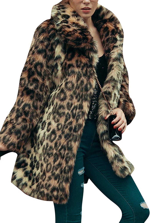 Women's Leopard Sexy Faux Fur Jacket Coat Long Sleeve Winter Warm Fluffy Parka Overcoat Outwear Tops (US 10 = Asian 2XL)