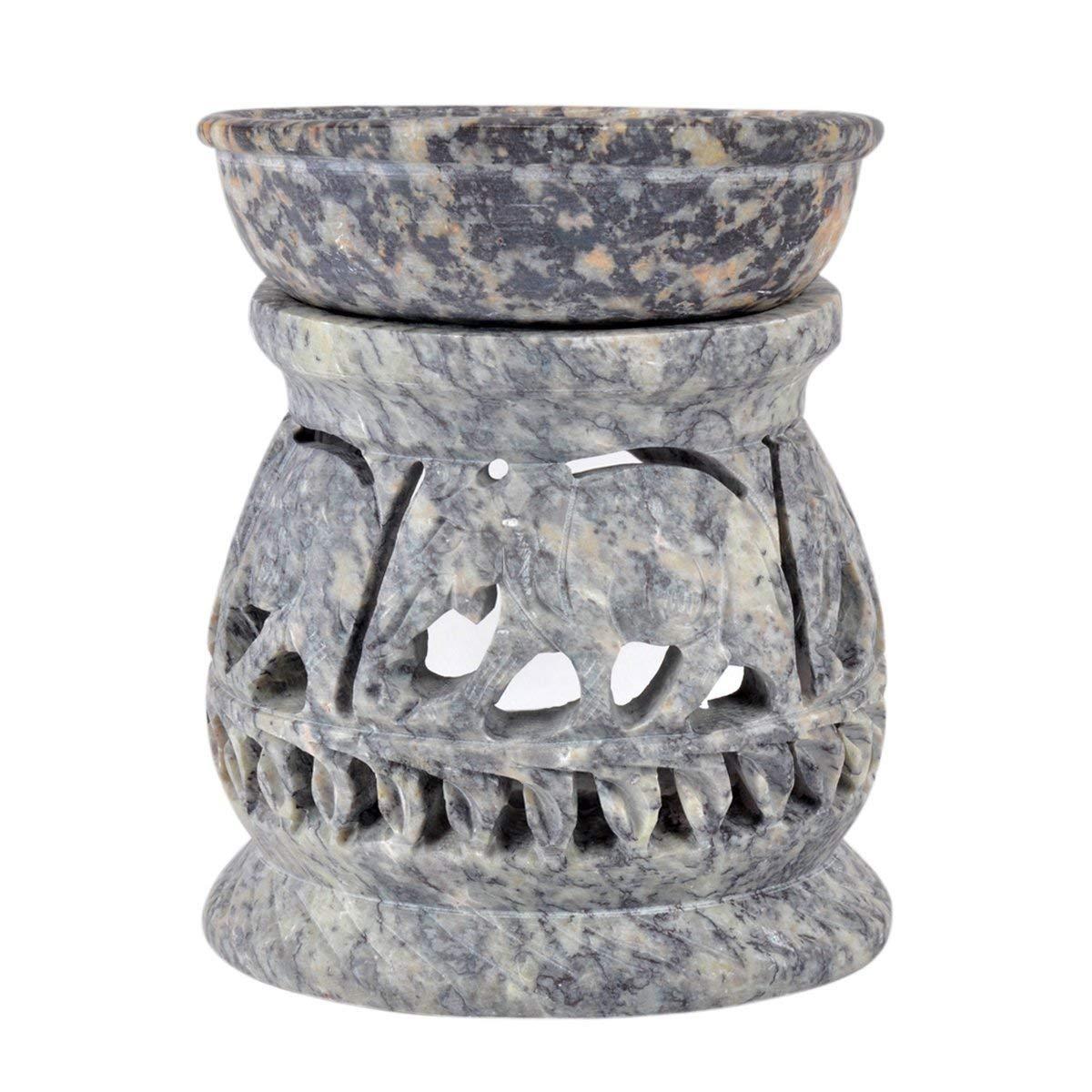diffusore di Oli con Elefante Scultura per arredamenti portacandela Decorativo Realizzato in Pietra ollare Hashcart Portacandela