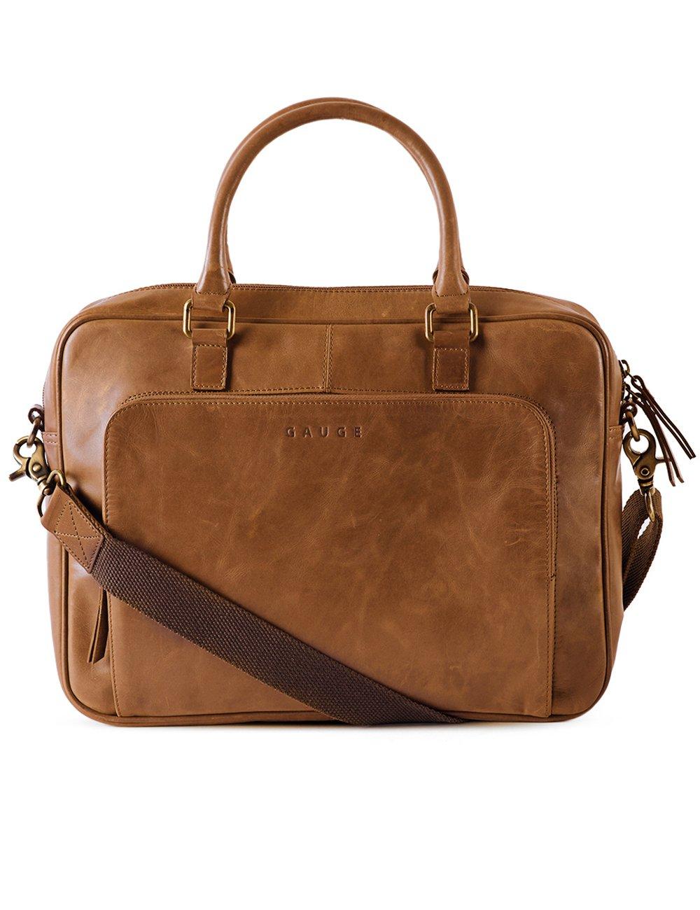 f96276e370 Gauge 15 Inch Leather Laptop Bag Messenger Bag Office Briefcase College Bag  Satchel for Men (