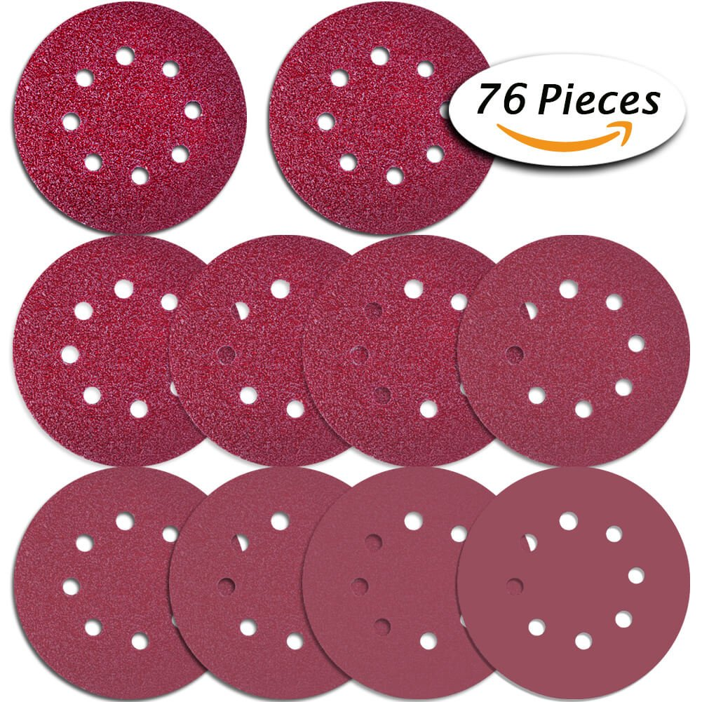 Paxcoo 76 Pcs 8 Holes Sanding Discs, 5 Inch Hook and Loop include 40/ 60/ 80/ 100/ 120/ 180/ 240/ 320/ 400/ 800Grit Sandpaper for Random Orbital Sander