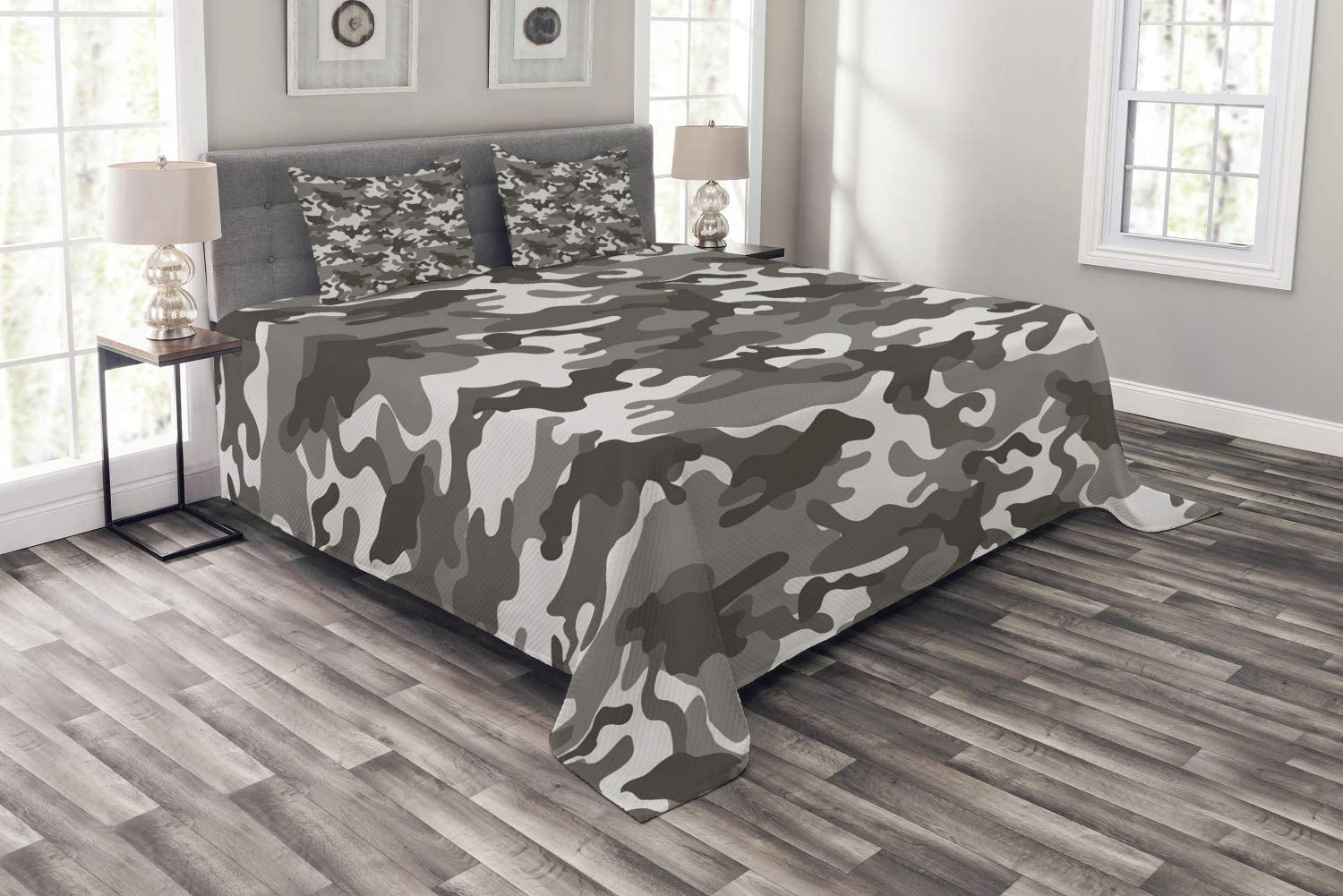 Ambesonne Camouflage Bedspread, Monochrome Attire Pattern Camouflage Inside Vegetation Fashion Design Print, Decorative Quilted 3 Piece Coverlet Set with 2 Pillow Shams, Queen Size, Grey Coconut