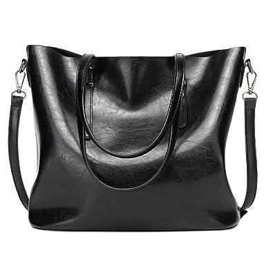 Amazon.com  Women Casual Handbag High-capacity Oil Wax PU Leather Shoulder  Bag Waterproof Totes Bag  Shoes 5a47e673fd479