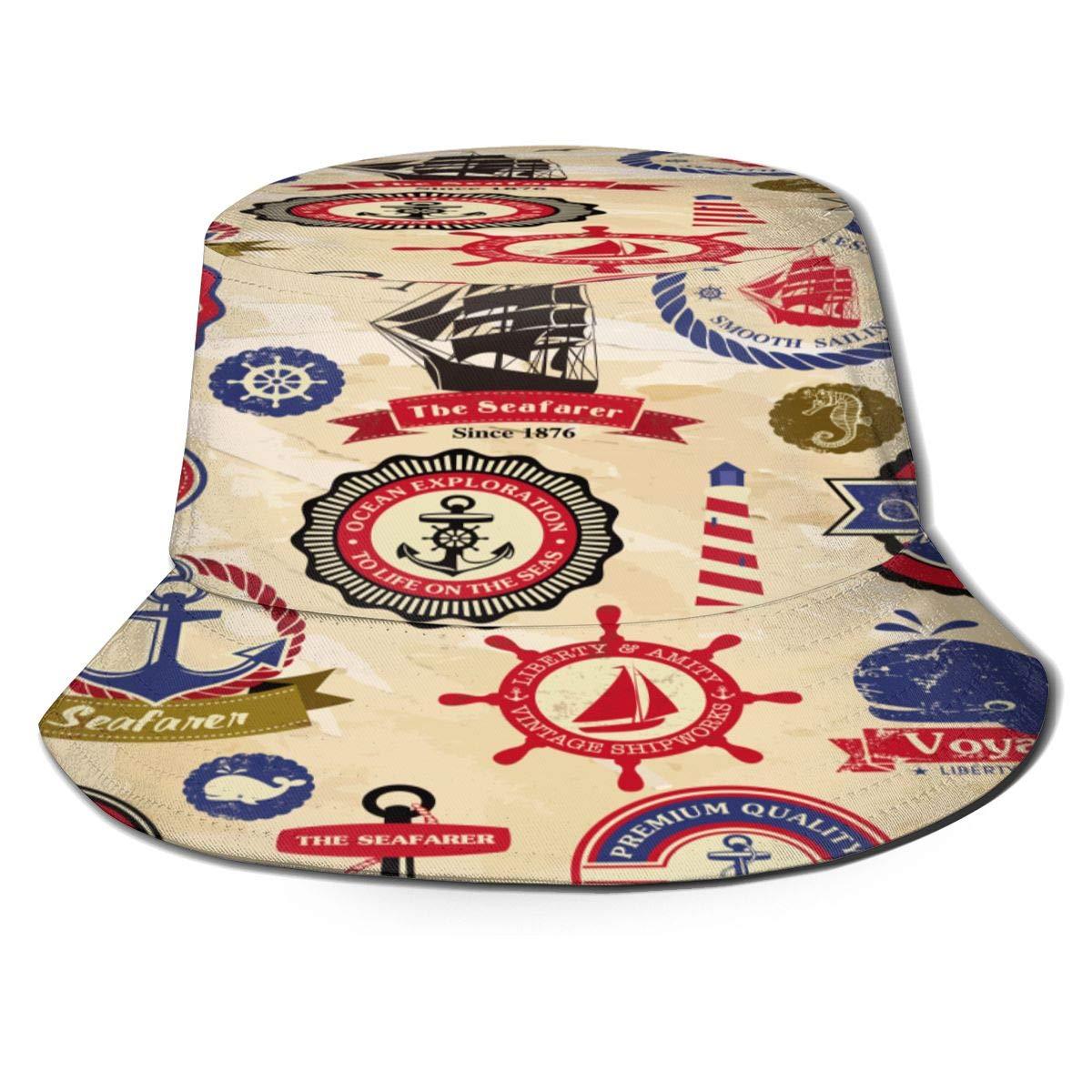 Unisexo Sombrero de Copa Colección de Etiquetas Náuticas Retro ...