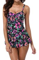 Attraco Women Floral Swimming Costume Bathing Suit One Piece Swimsuit Swimwear