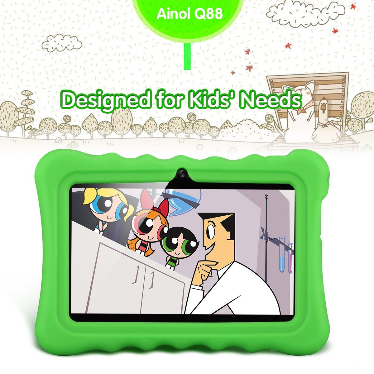 Ainol Q88 7 inch Eye-Protection Tablet with Adult Mode and Child Mode Android 8GB Education Tablet Gifts for Kids Sicicone Case Dual Camera WiFi External 3G by AINOL (Image #5)