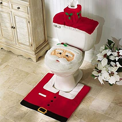 kobwa christmas decoration bathroom decoration santa toilet seat cover and rug set