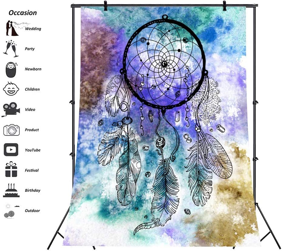 Abstract Dream Catcher Backdrop 6x8ft Spirit World Polyester Photography Background Starry Sky Twinkle Stars Cerebrum Dreamcatcher Artistic Photo Prop Exhibition Poster Decor Portraits Shoot
