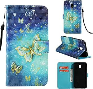 Voanice for Galaxy J3 2018 Case / J3 Achieve /J3 Orbit /J3 Express Prime 3 / Amp Prime 3/ Sol 3/ J3 Star PU Leather Wallet with Card Slots Holder and Stand Flip Protective Cover &Stylus-Blue Butterfly