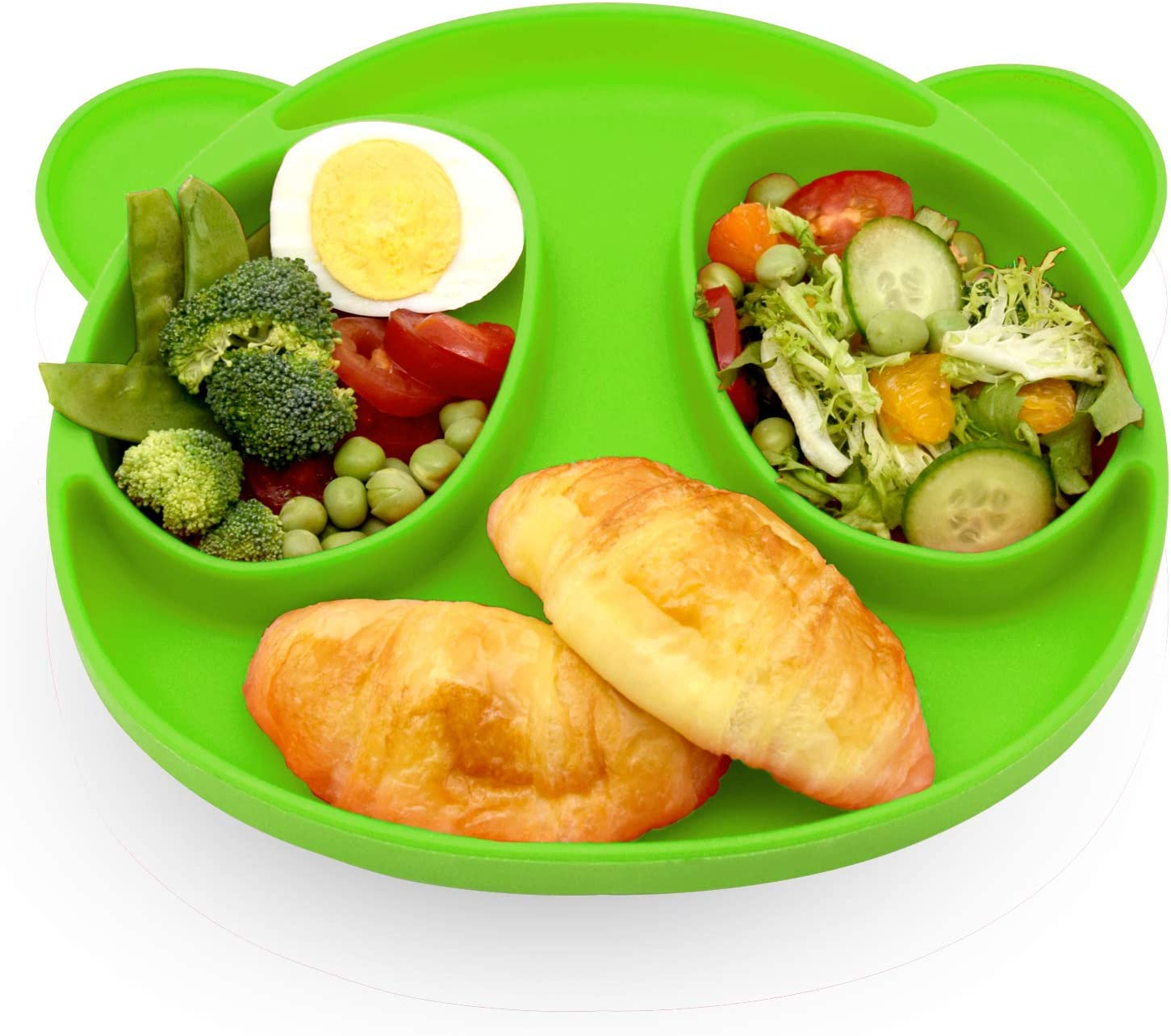 Silicone Plate,First Foods,for Kids Kitchen Dining Table Bear ,BPA Free, Microwave Dishwasher Safe – Light Green