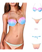 fc42ed4921494 Sexy Women Gradient Color Solid White Bikini Set Seashell Padded Bra  Triangle Mermaid Swimsuit