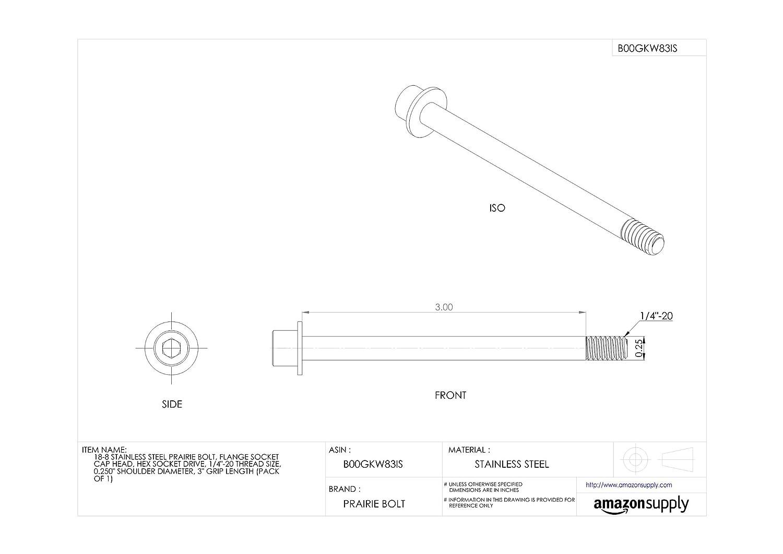 3 Grip Length 0.250 Shoulder Diameter Plain Finish Pack of 1 Flange Socket Cap Head Hex Socket Drive Made in US 18-8 Stainless Steel Prairie Bolt 1//4-20 Thread Size 1//4-20 Thread Size 0.250 Shoulder Diameter 3 Grip Length ZPS60114C48