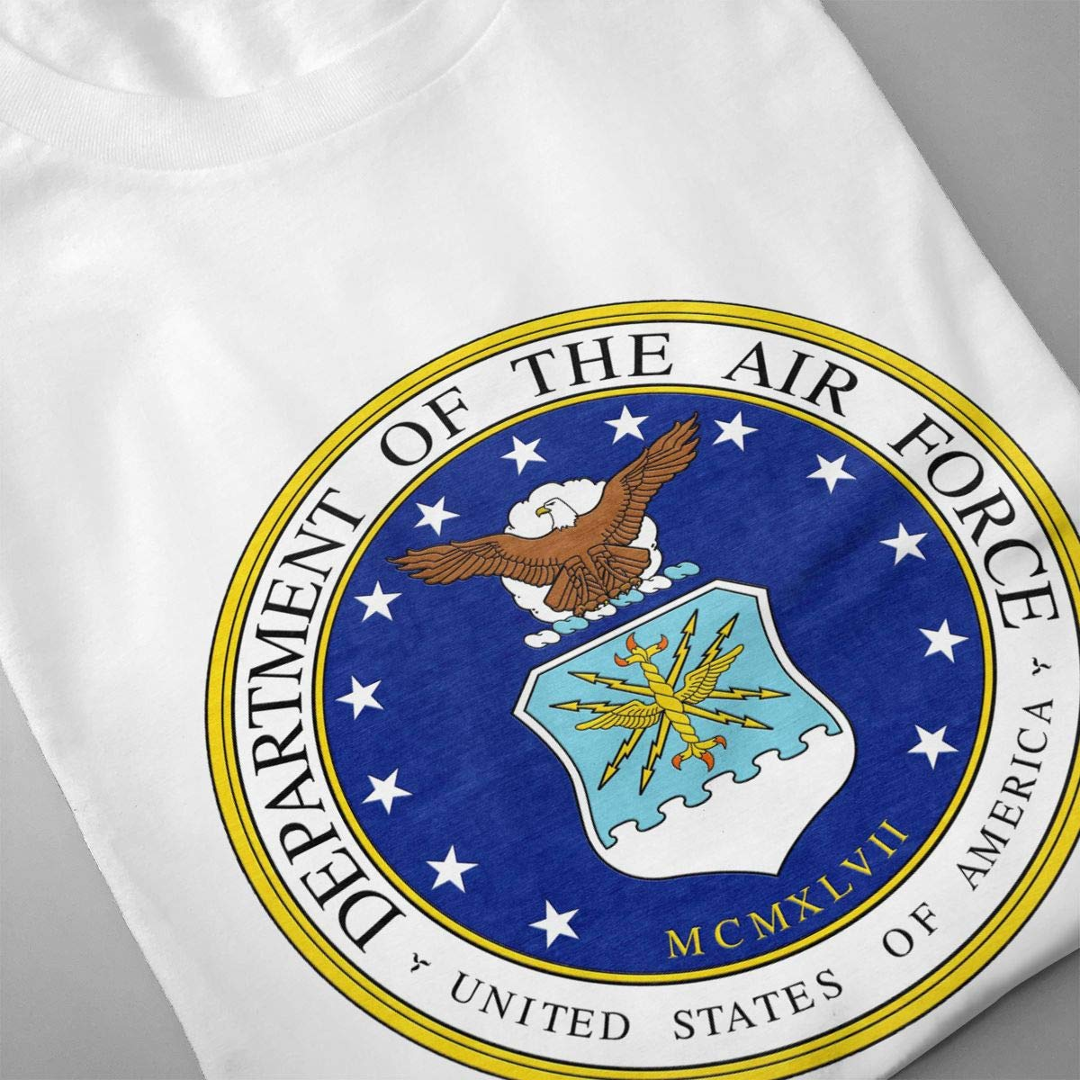 Smooffly Mens US Air Force Ultra Soft Crew-Neck Coton Short Sleeve Top