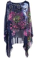 Bigood T-shirt Chemise Haut Femme Mousseline de Soie Manche Chauve-souris Fleur