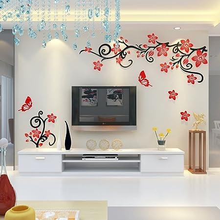 Xin Yu Yue Firm Creative Flores de Cerezo Acrílico 3D estéreo Wall Sticker Sala de TV de Fondo Muro decoración de Muebles de hogar (Color : B-Right, Tamaño : 240 * 145cm):