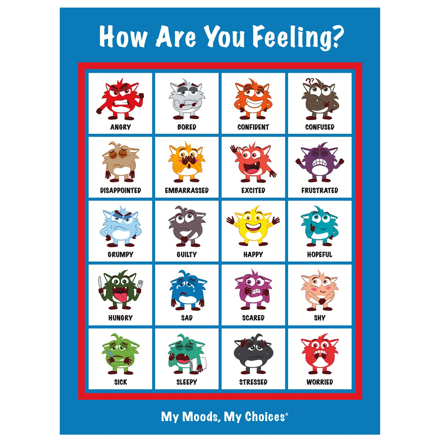 My Moods, My Choices ''How are You Feeling?'' and ''Wheel of Choice'' Posters; 20 Different Moods/Emotions; Educational/Learning Tool; Includes 2 Posters