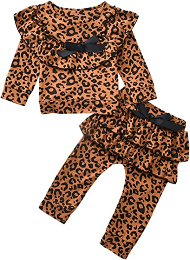 Borlai Conjuntos de Moda para niñas y niños Conjunto de Camisa con Volantes de Leopardo Pantalones Superiores chándal para niñas