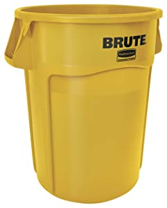 Rubbermaid Commercial Products FG264360YEL BRUTE Heavy-Duty Round Trash/Garbage Can, 44-Gallon, Yellow 4-Pack