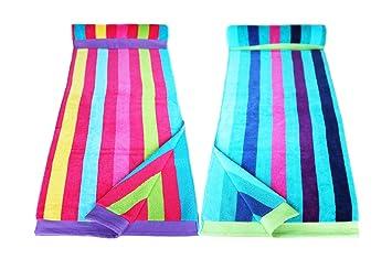 restmor Toallas de Playa 100% Algodón - Set de 2 Toallas de 90x170cm - Rayas Múltiples Azul y Rosa: Amazon.es: Hogar