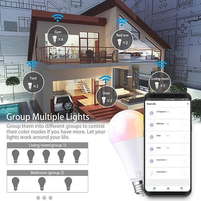 Extsud Smart WiFi Light,E27 Smart Bulb Dimmable 10W RGB Led Bulb