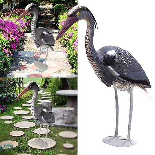 LVA Esculturas de jardín – señuelo Grande de Resina de plástico Heron Egret esculturas jardín Adorno pájaro espantapájaros Estanque jardín protección: Amazon.es: Jardín