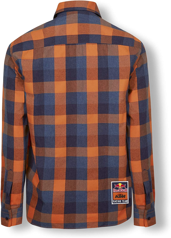 Red Bull KTM Checked Flannel Camisa, Multicolor Hombre Camisa Manga Larga, KTM Racing Team Original Ropa & Accesorios