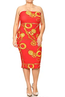 91891cb762 Women s Plus Size Solid Print Office Strapless Bodycon Midi Tube Dress Made  in USA