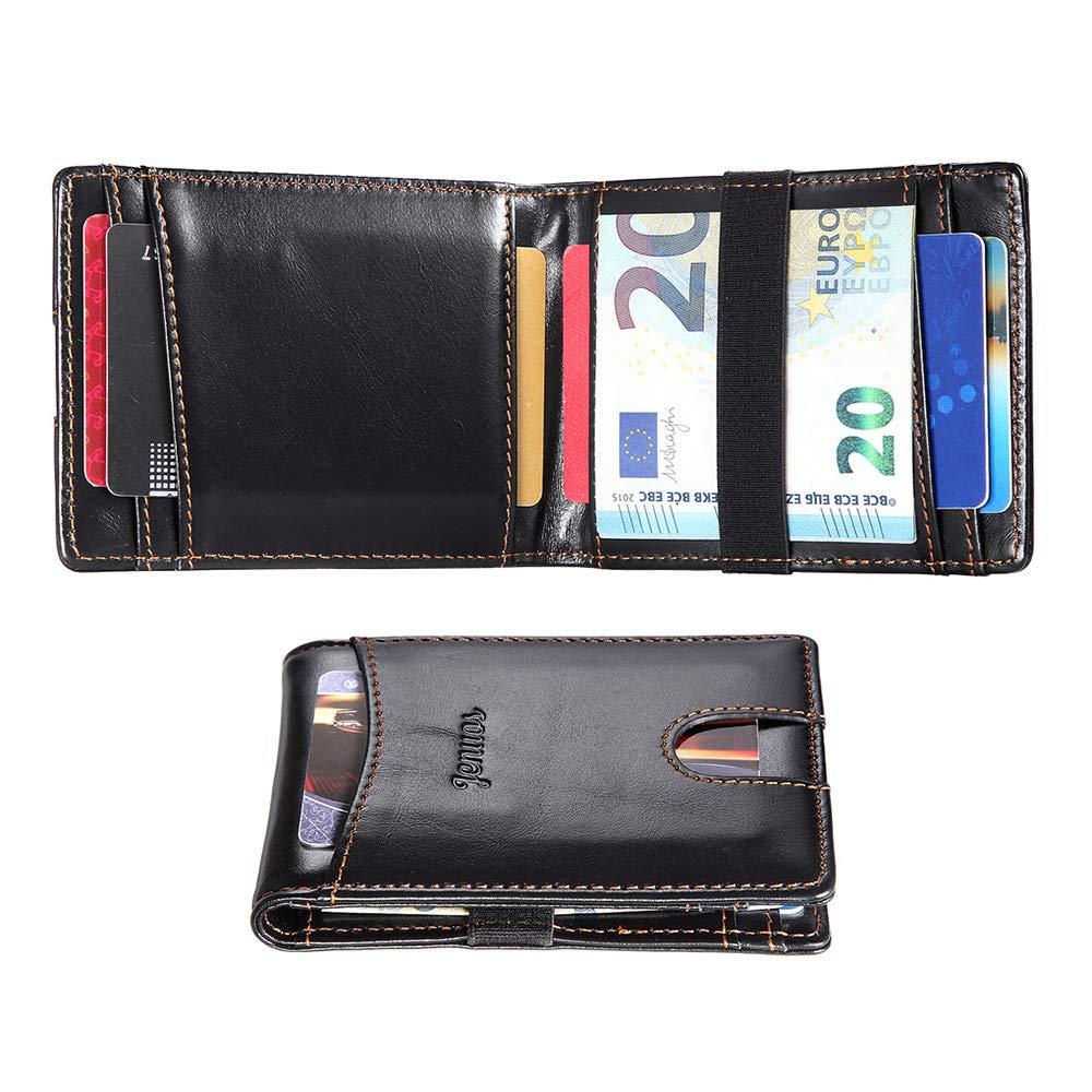 Mini Portefeuille Minimaliste Bo/îte Surdou/ée Noir JS-QJ-BK Porte-Carte Homme Blocage RFID,Jenuos Pince /à Billets Cuir Mince Porte-Monnaie Clip