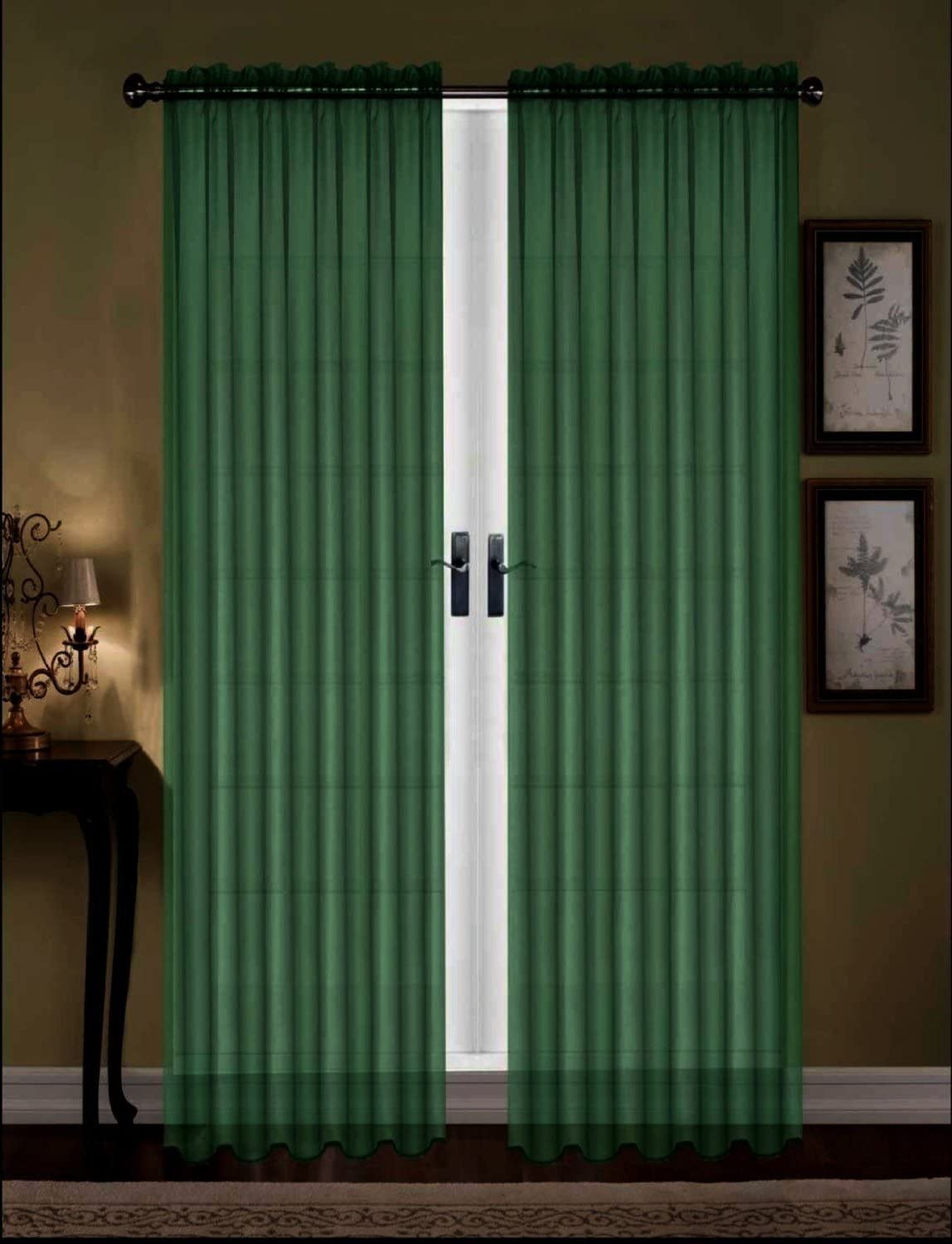 """Sheer Voile 2-Piece Hunter Green Curtain Panel Solid Window Treatment 84/"""""""