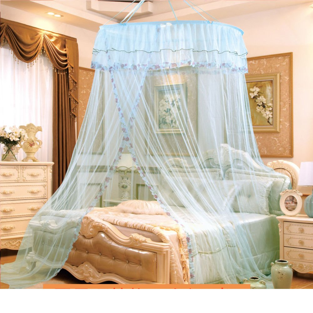 ODIUHEOHF Mosquito bed net | Large screen netting bed canopy circular curtain | Keeps away insects & flies | Home & travel-Aqua 200x200cm(79x79inch)