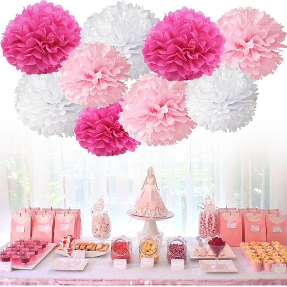 Tissue Paper Pom Pom Flowers Baby Shower Birthday Wedding Party Decorations 12 pcs Hanging Pom Poms,8'' 10'' Rose Pikn White by Jyukan (Image #1)