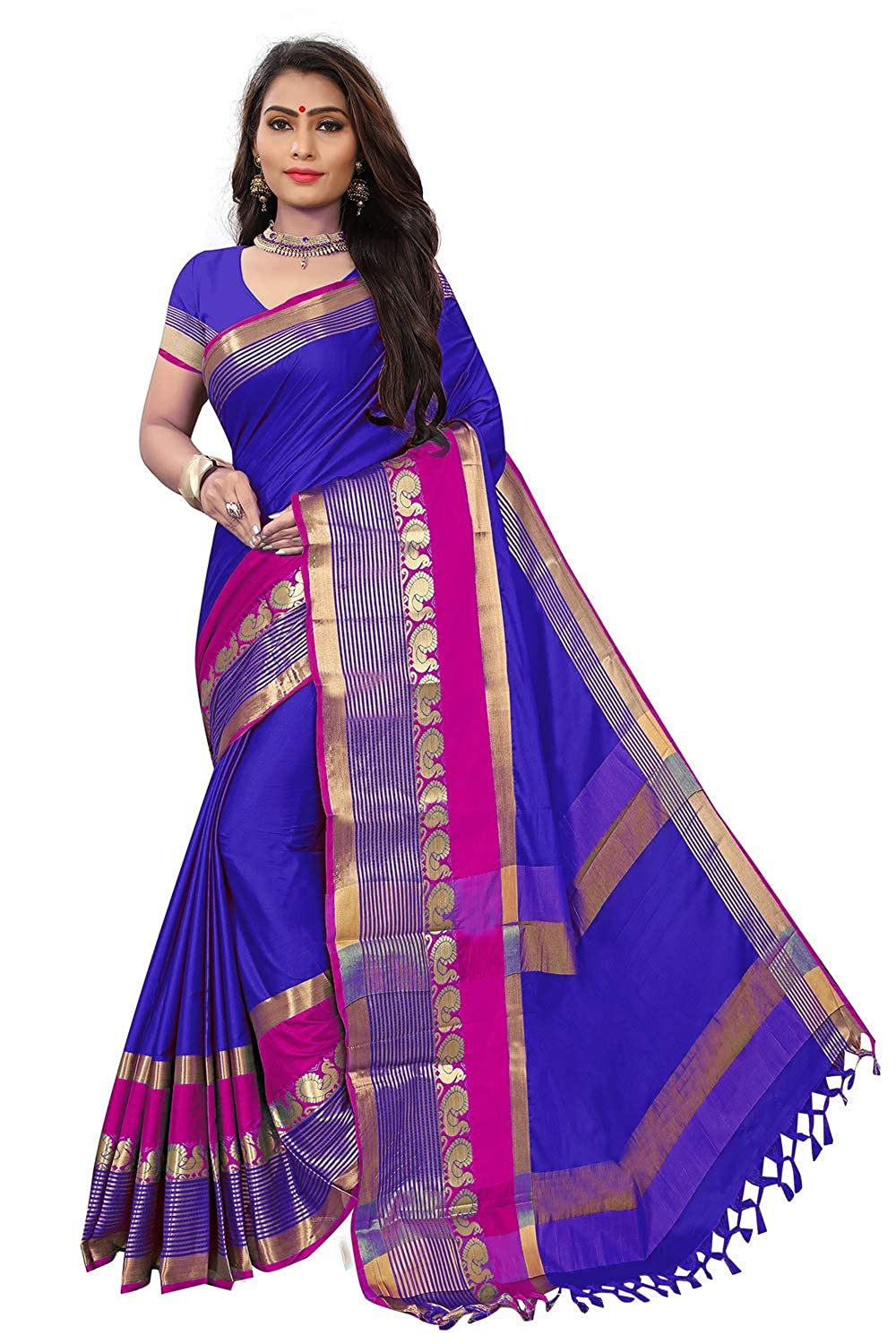 Florence Women's Blue cotton silk Woven Printed Saree With