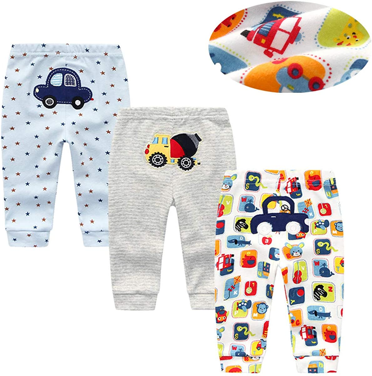 Kiddiezoom 4-Pack Newborn Pants Baby and Toddler Unisex Cotton trousers Pants