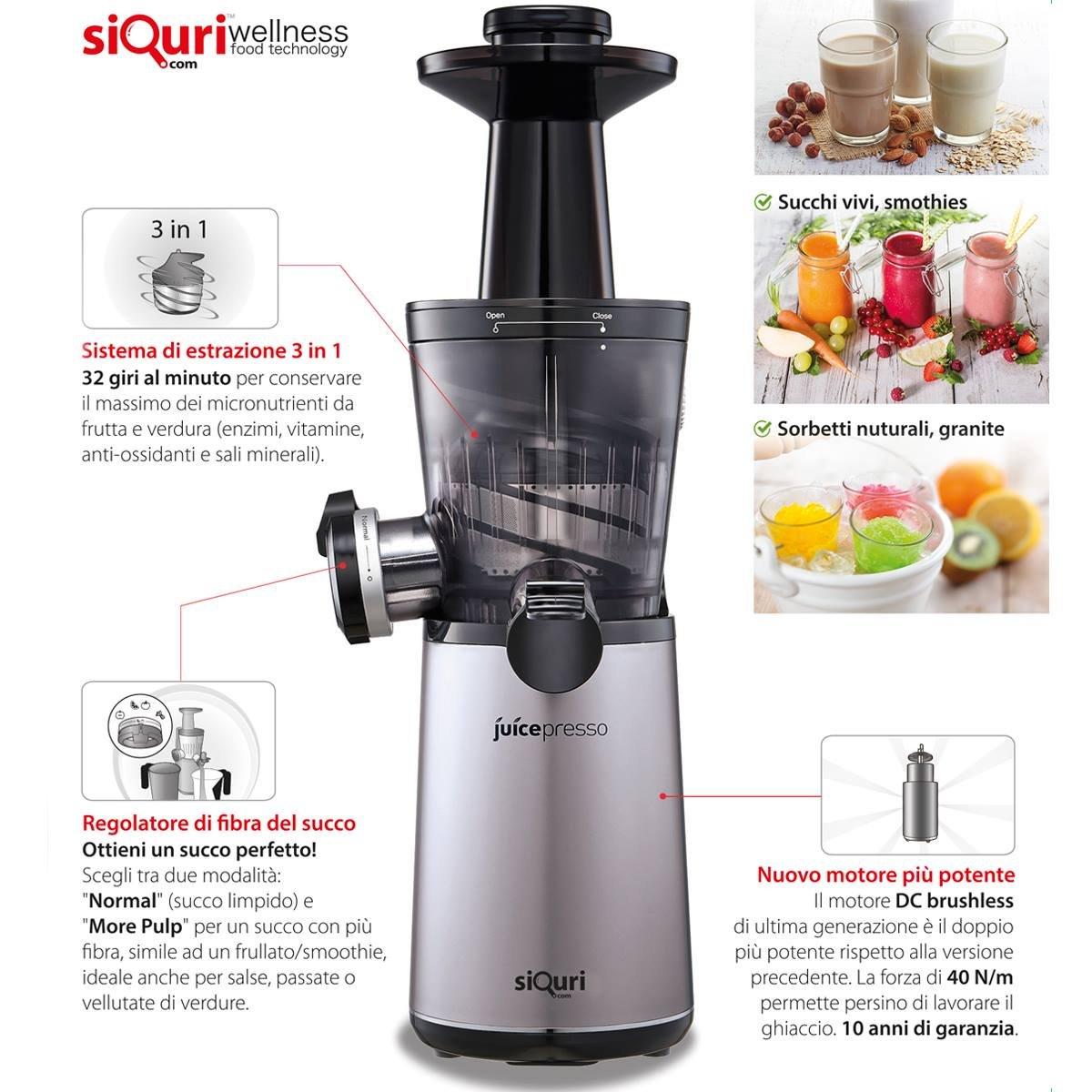 siQuri Juicepresso - Extractor de zumo con regulador de fibra: Amazon.es: Hogar