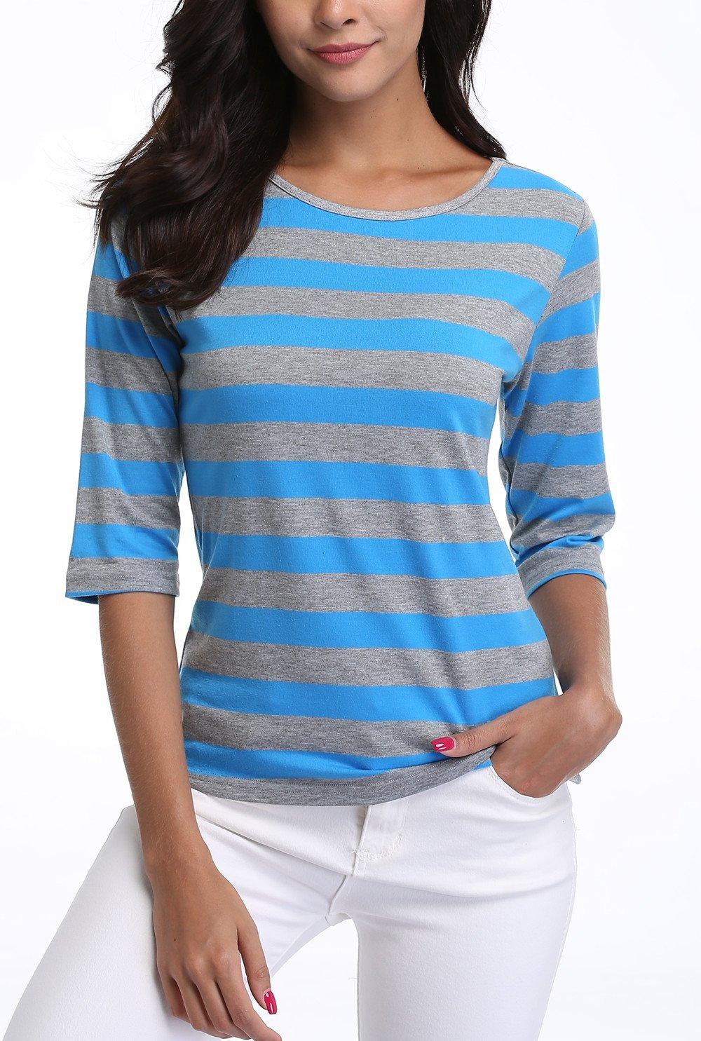 MISS MOLY SHIRT レディース B0756ST43J M|Sky Blue Mediun Stripe Sky Blue Mediun Stripe M