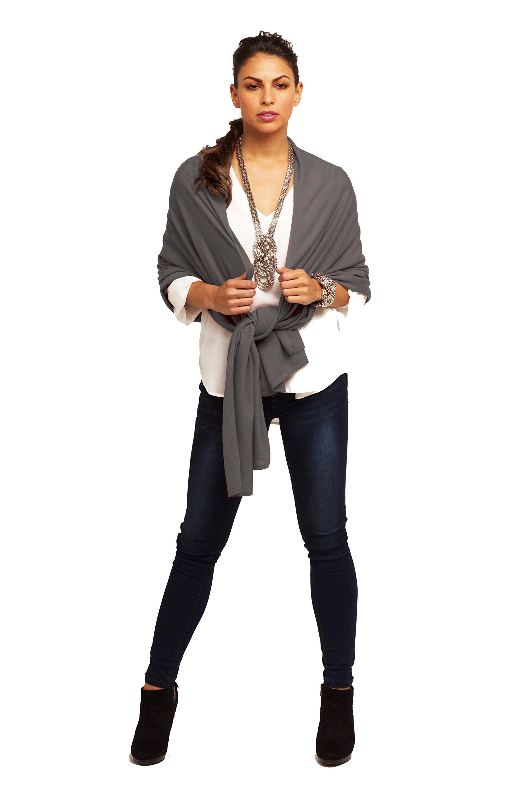 Super Soft Oversized 100% Cashmere Travel Blanket Scarf Wrap - Warm Charcoal
