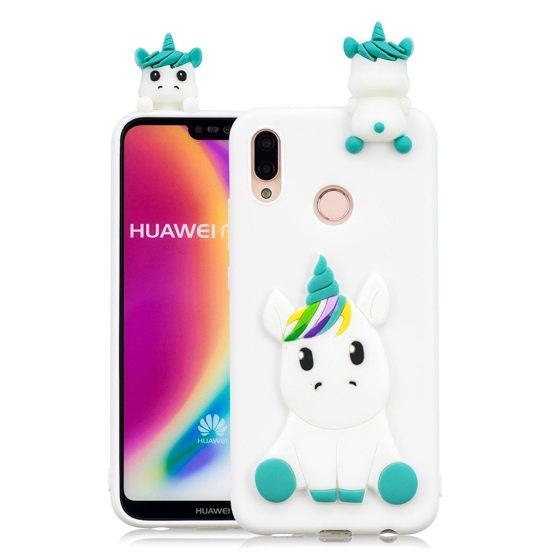 HopMore Coque Huawei P20 Lite Silicone Souple 3D Design Motif Drôle Mignonne Etui Huawei P20 Lite Étui Antichoc Ultra Mince Fine Gel Bumper Slim Case Housse Protection pour Fille Femme - Panda Blanc