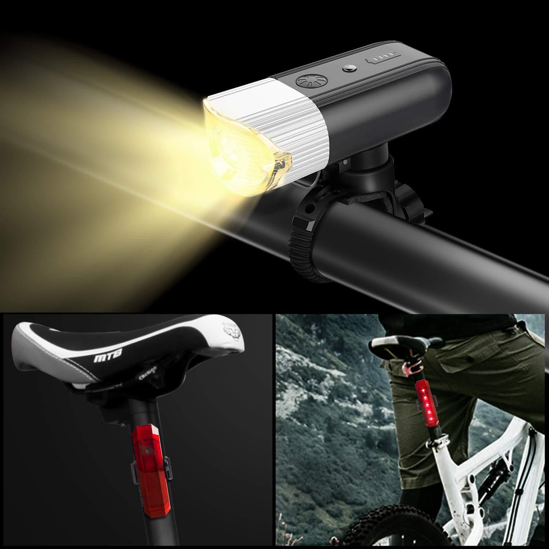 Plata Luces LED bicicleta USB Recargable 4000mAh Banco de energ/ía Juego de luces con antorcha 1000LM IP65 Resistente al agua 5 modos Super brillante de cola Luces de ciclismo para carretera y monta/ña