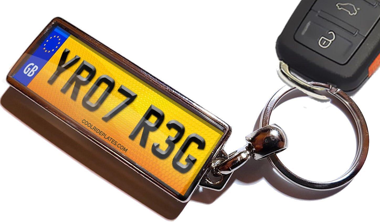registration METAL Keyring ENGRAVED  gift box MOTORBIKE REG Number Plate CAR