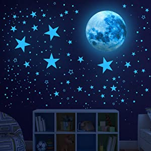 Glow in The Dark Stars for Ceiling,Glow in The Dark Stars and Moon Wall Decals, 1005 Pcs Ceiling Stars Glow in The Dark Kids Wall Decors, Perfect for Kids Nursery Bedroom Living Room