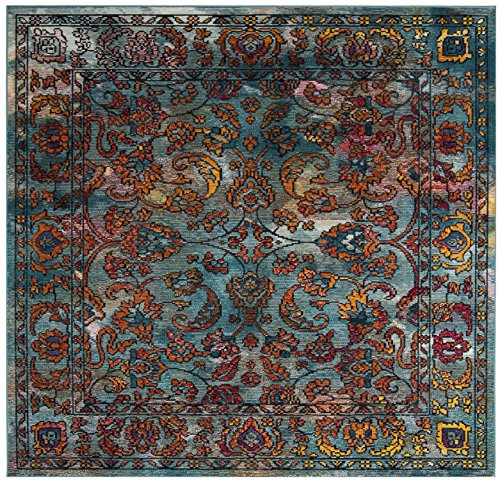 Safavieh Crystal Collection CRS515A Light Blue and Orange Distressed Area Rug (7' Square) by Safavieh