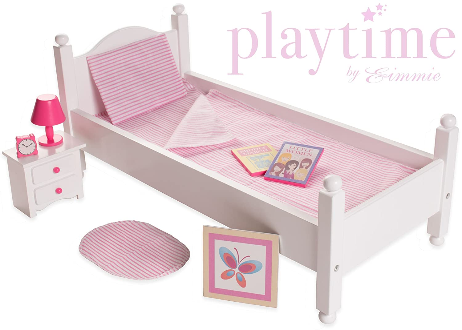 18 Inch Doll Furniture Bed Set American Girl Playtime Eimmie Collection Wood New Ebay