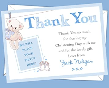 Personalised Christening Baptism Thank You Cards Your Own Picture Printed On Them