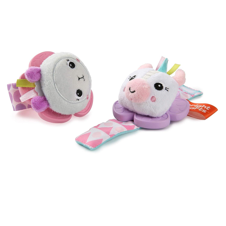 Unicorn /& Llama Bright Starts Rattle /& Teethe Wrist Pals Toy Newborn