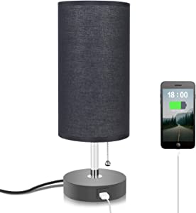 Black Table Lamp with USB Charging Port, Seealle Bedside Nightstand Lamp with Black Fabric Lampshade, Pull Chain, Wooden Base