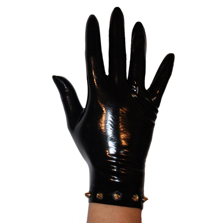 Rubberfashion kurze Latex Handschuhe Latexhandschuhe bis zum Handgelenk mit halb umlaufenden Studs nicht chloriert f/ür Frauen und Herren 1 Paar