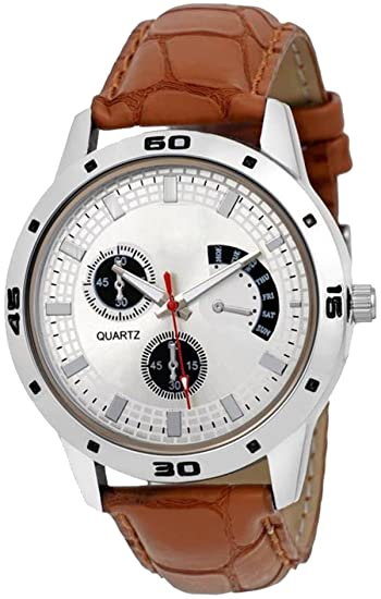 c54832de5f Buy NUBELA New Brown Colour White Dial Men's and Boys Analogue Watch Online  at Low Prices in India - Amazon.in