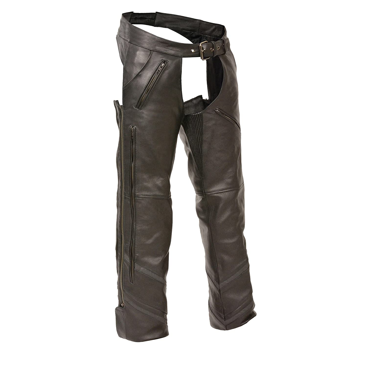 The Milwaukee Mens Motorcycle Reflective Vented Leather Riding CHAP Pants Soft Black Large
