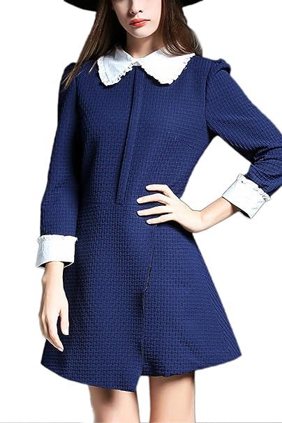 Vestido de fiesta de mujer manga larga muñeca elegante Collar Blue XL